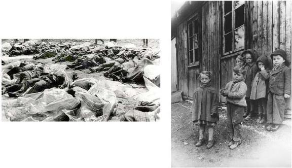מימין יתומים יהודים שהוחבאו במרתף ומשמאל גופות הוריהם שנותרו להירקב ברחוב אחרי שנטבחו על ידי כוחות גרמנים נסוגים