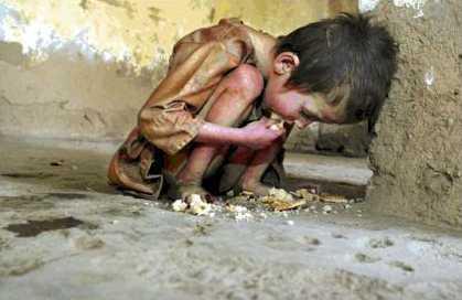 ילד צפון קוריאני מורעב אוכל פירורים