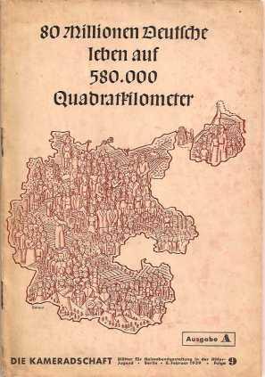 """פוסטר נאצי המצביע על הצורך של הגרמנים ב""""מרחב מחייה"""". הכיתוב: """"80 מיליון גרמנים חיים ב-580 אלף קילומטר רבוע"""""""