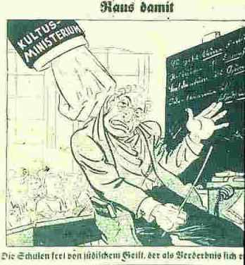 כרזה הקוראת לגרש מורים יהודים מבתי הספר