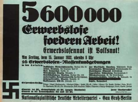 """כרזה למפגשים בנושאי אבטלה: """"5.6 מיליון מובטלים דורשים עבודה!"""""""