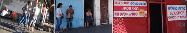 מימין לשמאל: תאי צפיה ברחוב פין - זונות ברחוב פין - נרקומנים מבשלים ומשתמשים לאור יום ברחוב פין פינת סלומון