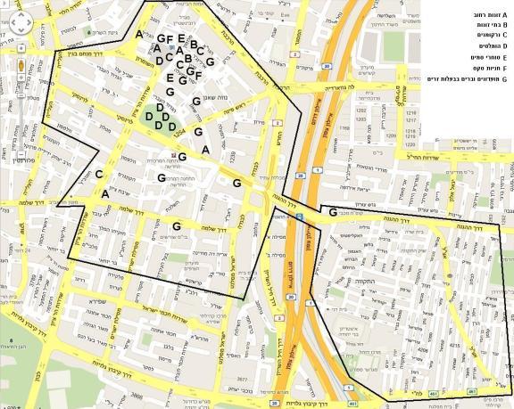 מפה של דרום תל אביב בשילוב עם בעיות הפשיעה והעוני שלה