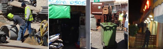 אפריקאים במסעדות, בניקוי הפחים של השוק, בטיפול בציפורים בחנות חיות ואפילו בשיפוץ של רחוב התקווה עצמו