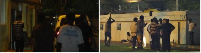 מימין - השוטרים מבררים מי היה מעורב בקטטה. משמאל - אסלן באזיקים ושלושה אחרים נלקחים לתחנה