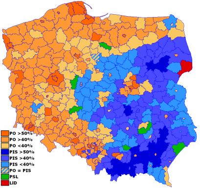 דפוסי ההצבעה בבחירות 2007 בפולין