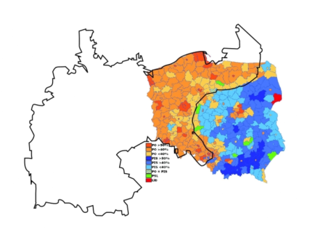 קווי המתאר של האימפריה הגרמנית של 1871 על גבי מפת ההצבעה של פולין 2007